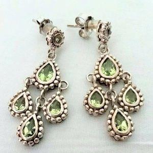 Vintage Peridot Sterling Silver Dangle Earrings